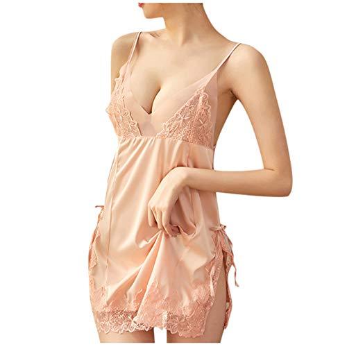 HCOO Damen Nachthemd Satin Sexy Negligee...