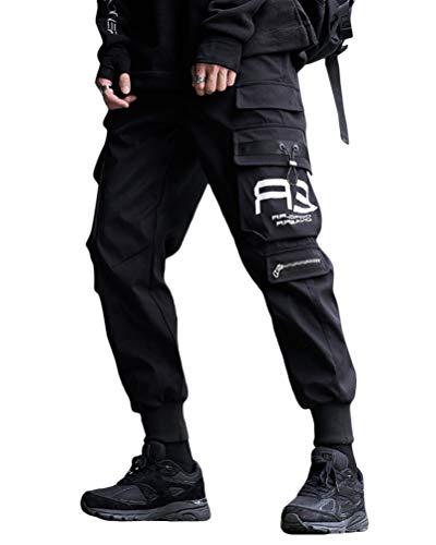 ORANDESIGNE Moda Hombre Pantalones de Trabajo Joggers Casual Joggers Workout Cargo Pants Multi Bolsillos Pantalones Deportivos Deportivos G Negro L