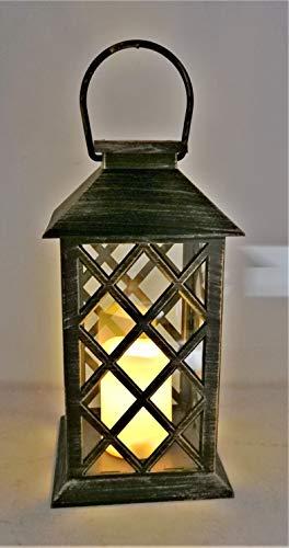 Solarize  Large Table Hanging Garden Solar Warm White LED Flickering Candle Lantern Light Patio Landscape, Waterproof IP44 Black, Antique Bronze, Rustic White (Antique Bronze)
