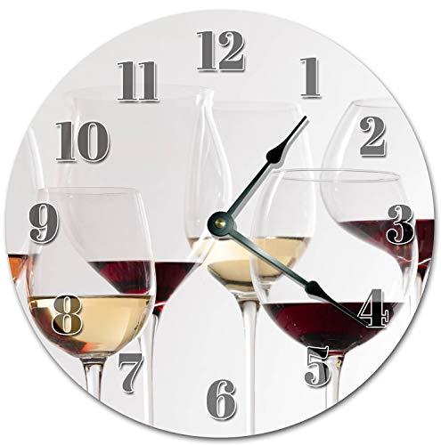Tamengi Reloj de pared, vino tinto y espumoso en cristal de vino, reloj de sala de estar, reloj de pared grande con impresión de madera, reloj de decoración para el hogar 5029 30 cm