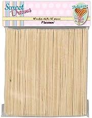Bestron wafelijzer voor hartwafels op een steel, houten stokjes voor wafels op de steel, retro design, Sweet Dreams