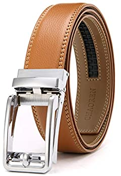Chaoren Click Ratchet Belt Dress with Sliding Buckle 1 3/8  - Men s Belt Adjustable Trim to Exact Fit  Light Brown Belt