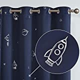 Vangao Blackout Curtains for Kids Room Space Sliver Foil Print Grommet Top Window Curtains Thermal Insulated Drapes for Boys 63 Inches Navy Blue 2 Panels