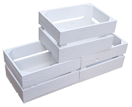 Kistenkolli Altes Land kleine geflammte Kiste Frieda Maße ca 30x22x16cm Weinkiste Aufbewahrungskiste Geschenkekiste Ablageregal (1er Set Frieda weiß) - 4