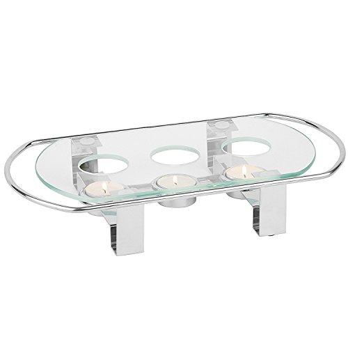 APS 35065 Tellerwärmer mit Metallrahmen und Glasbehälter, 3-Lichter, 34 x 18 x 6 cm