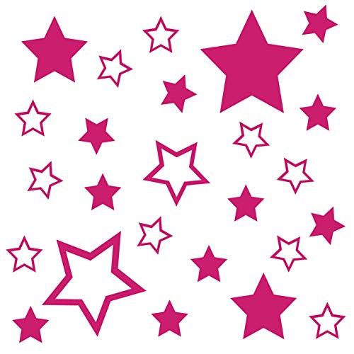 kleb-Drauf® | 25 Sterne | Pink - matt | Autoaufkleber Autosticker Decal Aufkleber Sticker | Auto Car Motorrad Fahrrad Roller Bike | Deko Tuning Stickerbomb Styling Wrapping