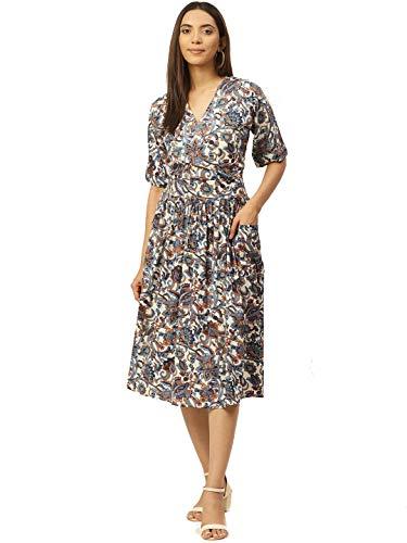 Cottinfab Women Off-White & Blue Printed Wrap Dress