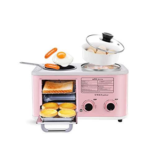PLEASUR Électrique 3 en 1 Machine à Petit-déjeuner Domestique Mini Grille-Pain Four de Cuisson Omelette poêle à Frire marmite à Vapeur, Rose