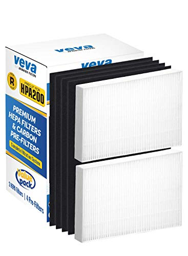 VEVA Complete 2 Premium HEPA Replacement Filter Pack Including 4 Activated Carbon Pre Filters Precut for HPA200 compatible with HW Air Purifier 200, 202, 204, 250B and Filter R by VEVA