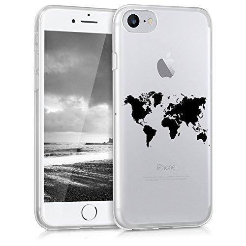 kwmobile Cover Compatibile con Apple iPhone 7/8 / SE (2020) - Custodia in Silicone TPU - Backcover Protettiva Cellulare Contorni Nero/Trasparente