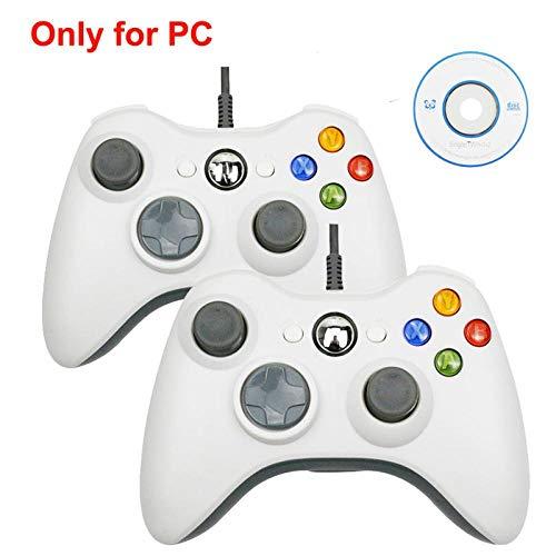 HDHL Mando Joystick de Juego de vibración con CableUSBparaelControlador dePC con Windows2PcsWhiteforpc