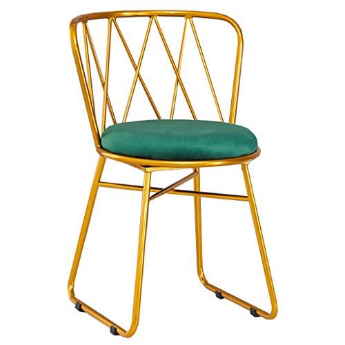 ZINIUKEJI Velvet Dining Chair Gepolsterte Polster Metallrahmen Thekenstühle, Wohnzimmer Dressing Hocker (Grün, 1 Stück)
