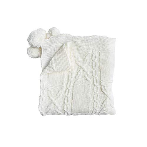 CUTEI GEM Manta para bebé de punto 100% algodón orgánico acompañado de un calcetín de algodón con cuatro bonitos colores: blanco, rosa, azul claro, beige (blanco)