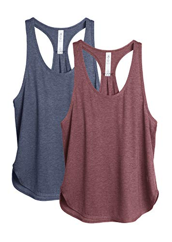 icyzone Workout Tank Tops for Women - Athletic Yoga Tops, Racerback Running Tank Top(Pack of 2) (M, Burgundy/Navy)