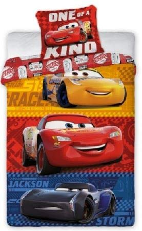 Funda nórdica de 140 x 200 cm y funda de almohada de 65 x 65 cm, diseño de Cars (rojo, 140 x 200 cm)