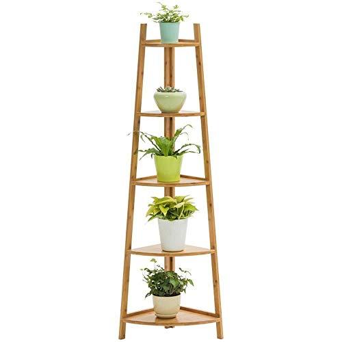 Plant Stand JT- Support de Pot de Fleurs en Bois 5 Couches Multicouche Support de présentation Multi-usages, Bambou, Couleur Primaire, 5 Layers