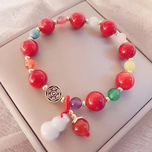 SONGK Pulsera con Cuentas de Piedra Natural para Mujer, Brazalete de Jade con Cuerda elástica, Colgante de Calabaza, Pulsera de dijes, joyería de energía curativa para Mujer