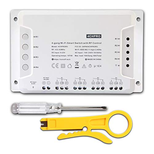 4 CH PRO R3 Canales Interruptor inalámbrico WiFi inteligente RF Control With Wire stripper, para la casa inteligente Inching/Auto-Bloqueo/Interlock