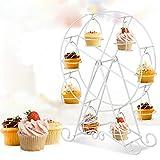 BUNRUN Supporto per Torta Creativo in Acciaio Inossidabile Ruota panoramica Porta Cupcake Supporto per espositore 8 Tazze per Feste , Matrimonio, Pasticceria
