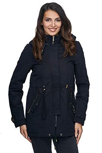 Rock Creek Elegante Damen Winter Jacke Mantel mit Kapuze Teddy-Futter Wintermantel Frauenjacke Outdoorjacke Parka D-237 Schwarz M