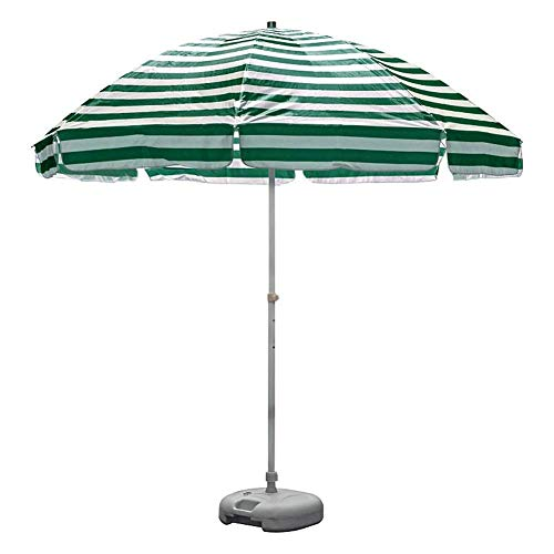 8.2' Outdoor Beach Umbrella, Striped Patio Umbrella, Market Table Umbrella with 8 Sturdy Ribs and Crank (Green and White) (Color : Green and white stripes)