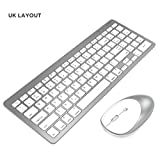 inphic Ultra-Slim Bluetooth Keyboard Mouse Combo Wireless UK Layout Compatible with iPad 10.2/9.7