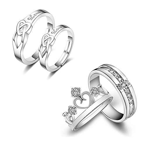 Foonee - Anillos de compromiso para parejas, ajustables, de plata de ley 925, para parejas, para mujeres y hombres, 4 unidades