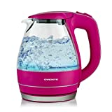 Ovente KG83F 1.5 Liter BPA Free Glass Cordless Electric Kettle, Pink