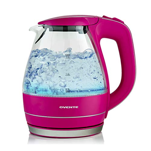 Ovente Electric Hot Water Glass Kettle 1.5 Liter with Heat Tempered Borosilicate Glass, 1100 Watts BPA-Free Fast Heating Element with Auto Shutoff and Boil Dry Protection, Fuchsia Pink (KG83F)