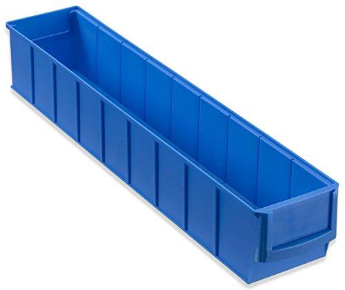 hünersdorff Regalbox / Stapelbox / Lagerbox aus Polypropylen, hohe Formstabilität und Belastbarkeit, breit, Volumen: 2,82 L, Farbe: Blau