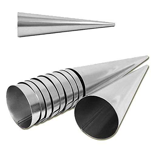 rukauf para Hacer barquillos para Molde de 30 Set de ollas de Acero Inoxidable (140 mm x 35 mm) Set de 30 moldes con Forma de Cono