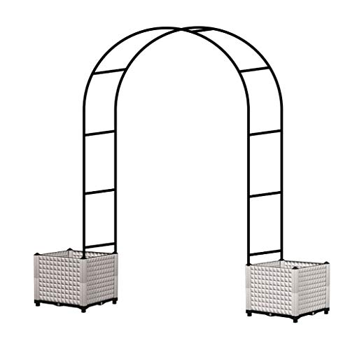 Decorative Iron Garden Arbor with Ground Stakes,Graceful Curve for Climbing Plants Roses Vines, Outdoor Garden Lawn Backyard Patio,Wedding,Black