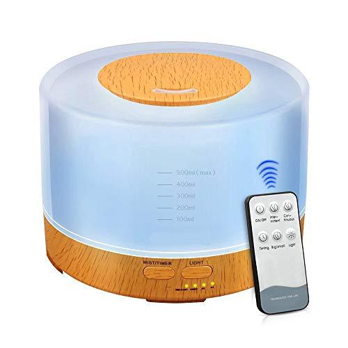 Newkbo Difusor de Aceites Esenciales, 500ml humidificador de vapor frío Auto Shut Off Operación silenciosa Los colores multi Opción Agua del grifo El vapor lo suficientemente
