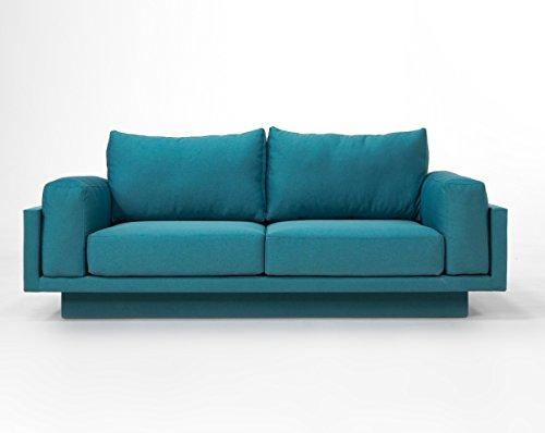 FEYDOM Cloud-B Schlafsofa Day-Bed Verwandlungssofa, Querschläfer - 214cm breit, Webstoff Türkis - einfach Kissen umstecken