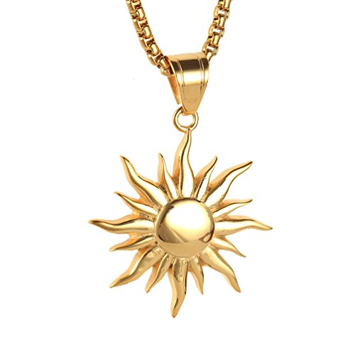 PAURO Men's Stainless Steel Retro Sunface Hip Hop Rocker Necklace Pendant Gold with Chain