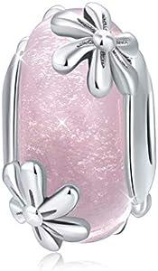 Abalorio de plata de ley 925 adecuados para cadena de serpiente o pulsera, color negro, cuenta de cristal de Murano, regalo para mujeres, cumpleaños, joyería