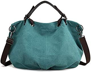 JAUROUXIYUJI Canvas Bag Women's Bag Simple Retro Big Bag Portable Messenger Bag Shoulder Bag (Color : Light Green, Size : 40×20×33cm)