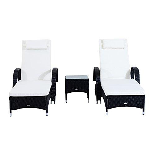 Outsunny Set de 2 Tumbonas Chaise Longue + 1 Mesa de Ratan para Jardín o Terraza Sillas con Cojín y Respaldo Ajustable a 5 Niveles (Marrón)