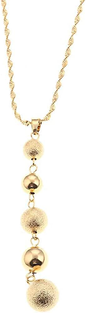 Gold Color Ball Beads Lucky Love Pendants Necklaces For Women Men Jewelry Gift