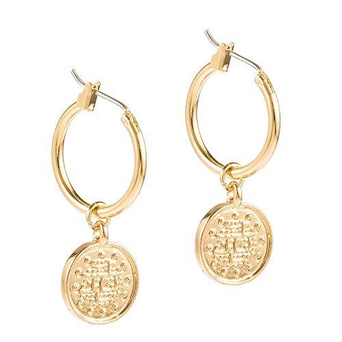 BQZB earring Trendy Vintage Zinc Alloy Coin Portrait Pendant Hoop Earrings Gold Ethnic For Women Women Charm Earring Jewelry Gift