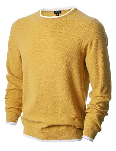 AFAIK Men's Crew Neck Pullover Cotton Knitted Long Sleeve Casual Sweater Medium 1019-rainbow Yellow