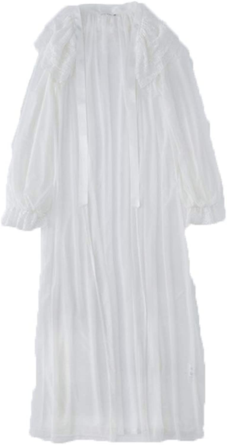 Bathrobes Pajamas Women's Spring, Summer and Autumn Long Bathrobe Long Sleeve Thin Bathrobe Long Sleeve (color   White, Size   XS)