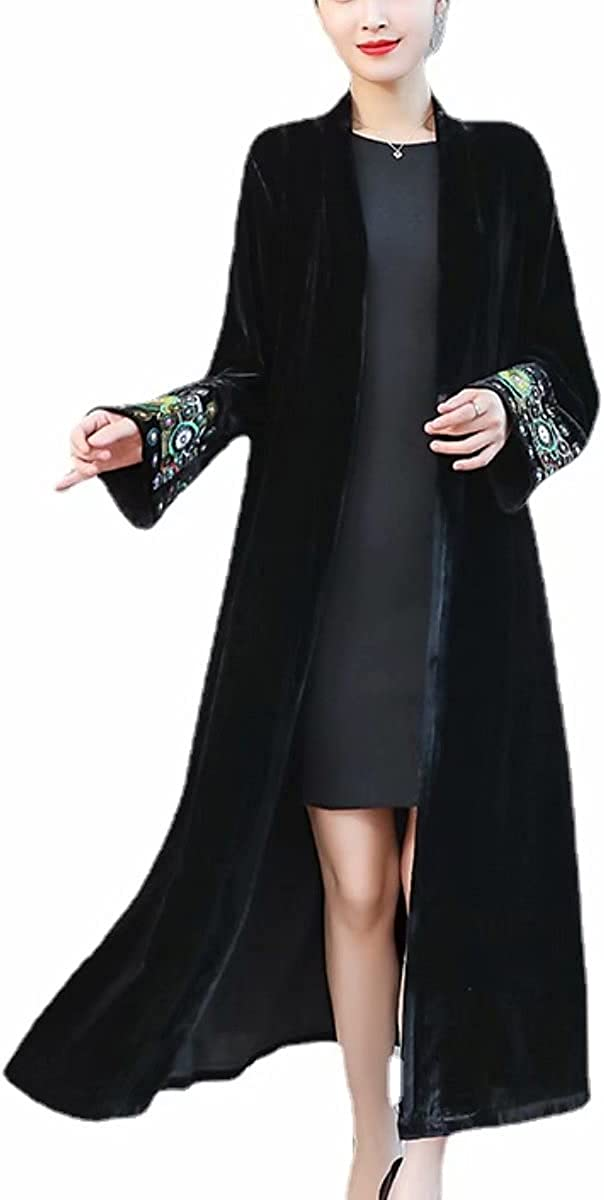 Arlington Mall Vintage Velvet Long Embroidered Cardigan O Trench for Women Easy-to-use Coat