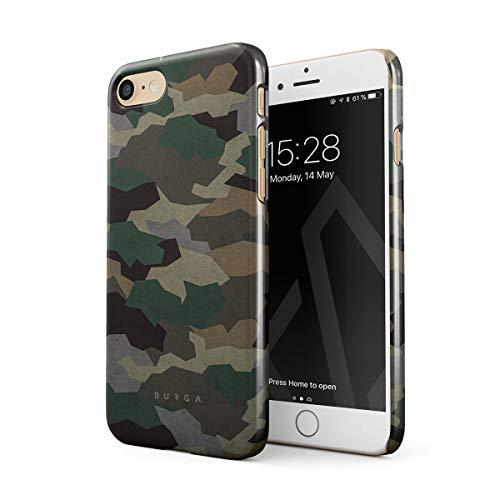 BURGA Cover per iPhone 7/8 / SE 2020 - Militare Verde Camuffamento Green Camo Camouflage Design Sottile Guscio Resistente in Plastica Dura Custodia Protettiva