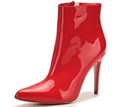 Women Ladies Stilettos High Heels Stretch Patent Leather Ankle Boots Party Shoes