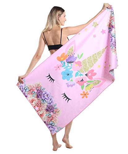 Unicorn Microfiber Beach Towel, Sand Resistant Free Proof Sandless, Fast Quick Dry, Compact Cool Travel Pool Towel, Ideal Gift for Teen Girls, Women, Mom, Wife, Girlfriend, Best Friend