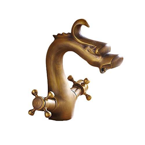 XVXFZEG Bajo Plomo refinado de cobre for debajo del lavabo del fregadero, grifo cuenca en forma de dragón único bronce, cobre puro con un orificio de extracción de Hogares del grifo, cocina caliente y