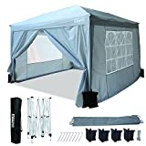 KT20 3M x 3M Pop-up Gazebo Tent Commercial Instant Canopy with Travel Bag, Canopy, 4x Sandbags 4x Guy Ropes & x8 Ground Stakes, Grey