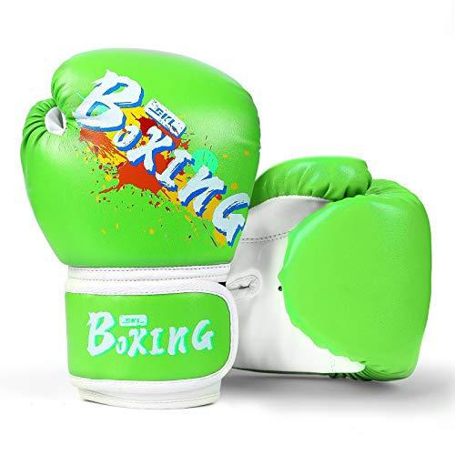 SKL Boxhandschuhe Kinder Boxing Gloves Kids Punchinghandschuhe aus PU Training Muay Thai für Sparring, Kickboxen, Kampfsport, Boxsack Punching, Fitness, Sandsack grün