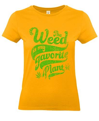 Smilo & Bron Damen T-Shirt mit Motiv Weed Bedruckt Orange Apricot XS